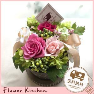 NEW プリザーブドフラワー マルシェ ボックスから溢れるお花のギフト|fkjiyugaoka