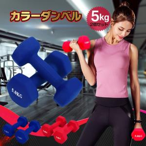 ダンベル 5kg 2個セット カラー トレーニング 筋トレ 男性 女性 鉄アレイ ブルー レッド de094|fkstyle