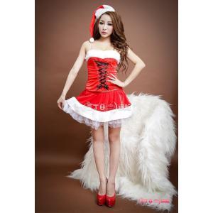 サンタ コスプレ サンタクロース コスチューム セクシー衣装 クリスマス チュールスカート 編み上げ 4点セット SD019|fkstyle