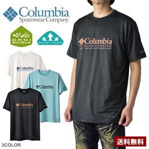 コロンビア Columbia メンズ 無地 Tシャツ クイックドライ 半袖 ワンポイントT A5W|flagon