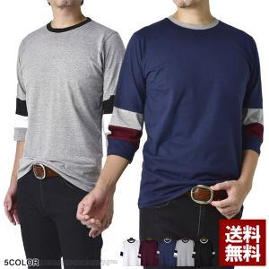 7分袖 メンズ 2カラー切替スリーブ リンガーT...の商品画像