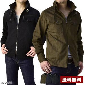 シャツジャケット メンズ ミリタリー 立襟 ライダースMIXジャケット B2A|flagon