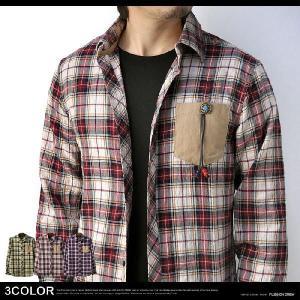 シャツ メンズ 長袖 ガーゼチェック コンチョ 胸ポケット B6K【パケ1】|flagon
