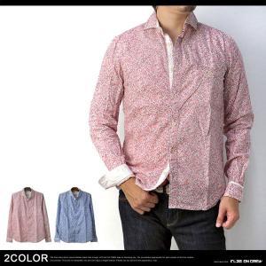 リネンシャツ ワイドカラー 麻綿 小花柄 長袖シャツ メンズ C2W【パケ1】|flagon