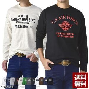 Tシャツ メンズ 長袖 ミリタリー系 送料無料 プリント ロンTee D1Y【パケ1】|flagon