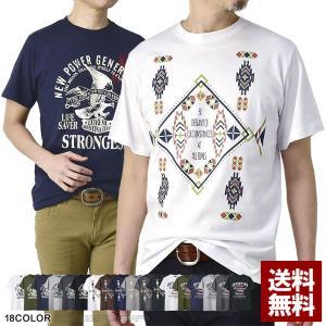 綿コーマ糸 Tシャツ メンズ 半袖 綿100 カットソー トップス ネイティブ メキシカン バイカー プリントt【D2O】【パケ2】|セレクトカジュアル FLAG ON CREW