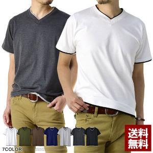 送料無料 Vネック 半袖 Tシャツ メンズ フェイクレイヤード 無地Tシャツ ダブルネック E1P【パケ1】|flagon