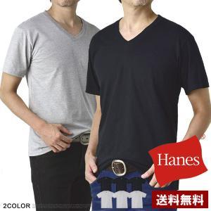 Tシャツ メンズ 半袖 Vネック Hanes ヘインズ 肌着 3枚入パック 吸汗機能性 E3G【パケ2】|flagon