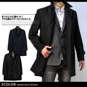 コート メンズ ビジネス ボンディング シャドーストライプ 立襟 シングルコート 紳士 H1K|flagon