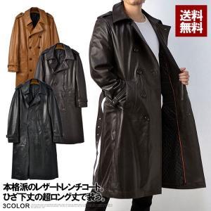 コート メンズ 冬 羊本革 ラムレザー スーパーロング 中綿入り ダブルトレンチコート レザーコート K0B|flagon