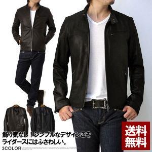 ライダースジャケット 新作 レザー シングルライダースジャケット メンズ K6A|flagon