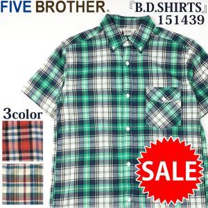 セール SALE FIVE BROTHER ファイブブラザー マドラスチェック B.D.SHIRTS 半袖 ボタンダウンシャツ 151439 flamingosapporo