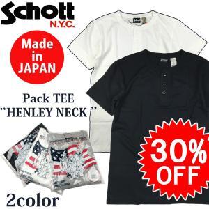 特別セール SALE Schott ショット 定番 日本製 ヘンリーネック 半袖 ポケット Tシャツ 無地 HENLEY NECK POCKET TEE パック Tシャツ Lot. 3153041|flamingosapporo