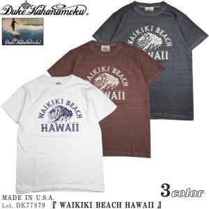 デューク カハナモク DK77879 アメリカ製 半袖 Tシャツ WAIKIKI BEACH HAWAII Duke Kahanamoku サンサーフ Lot. DK77879|flamingosapporo