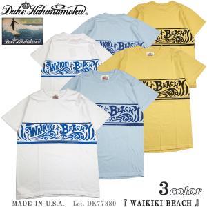 デューク カハナモク DK77880 アメリカ製 半袖 Tシャツ WAIKIKI BEACH Duke Kahanamoku サンサーフ Lot. DK77880|flamingosapporo