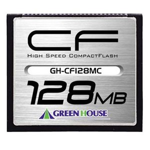 128MB GREENHOUSE グリーンハウス コンパクトフラッシュ70倍速 最大10MB/s ハードケース付 GH-CF128MC ◆メ|flashmemory