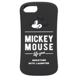 【iPhone8/7/6s/6 ケース】 シリコンケース ラウンドフォルム PGA 耐衝撃&耐振動設計 ミッキーマウス/ブラック PG-DCS385MKY ◆メ|flashmemory