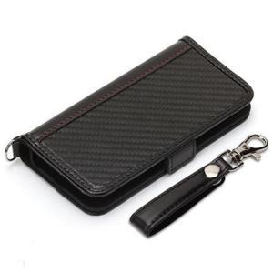 【iPhone SE/5s/5c/5 ケース】 PUレザーフリップ 手帳型 PGA Premium Style カードポケット フィンガーストラップ付 カーボン調ブラック PG-18EFP05BK ◆メ|flashmemory