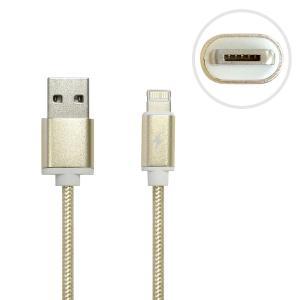 【1本2役でカバンの中スッキリ!】 microUSB / Lightningコネクタ採用 2in1 USBケーブル 充電・データ転送用 高耐久 100cm ゴールド USB-LM2IN1-GD ◆メ|flashmemory