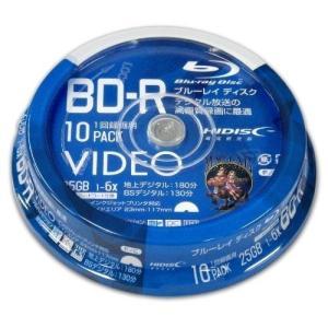 HI-DISC ハイディスク BD-R 1回録画用 6倍速 25GB 地デジ180分 / BS130分 10枚 スピンドルケース ホワイトワイドプリンタブル VVVBR25JP10 ◆宅|flashmemory