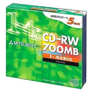 MITSUBISHI 三菱化学 繰り返し記録用 CD-RW 700MB 80分 4倍速対応 シルバー(印刷不可) 5枚パック 5mmPケース入り SW80QU5 ◆宅 flashmemory