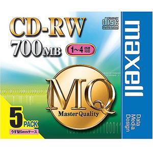 【お取り寄せ商品】maxell CD-RW MQシリーズ データ用 700MB 1-4倍速対応 5枚 5mmslimケース入り くり返し記録用 標準品アンフォーマット  CDRW80MQ.S1P5S|flashstore