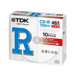 【日本製】TDK データ用CD-R 700MB 48倍速 10枚 5mmスリムケース入り ホワイトワイドプリンタブル インクジェットプリンタ対応 CD-R80PWDX10B|flashstore