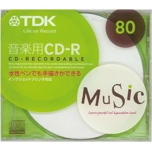 TDK 音楽用CD-R 80分 1枚 10mmケース入り ホワイトワイドプリンタブル インクジェットプリンタ対応 CD-RM80PW-H