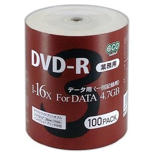 <新製品> 【業務用】 DVD-R データ用 4.7GB 1-16倍速対応 100枚シュリンクecoパック ホワイトワイドタイプ インクジェットプリンタ対応 DR47JNP100_BULK5|flashstore