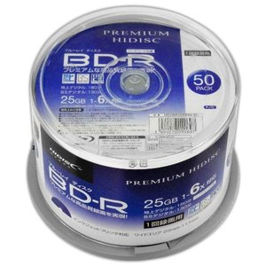 PREMIUM HIDISC BD-R 1回録画 6倍速 25GB 50枚 スピンドルケース ホワイトワイドプリンタブル インクジェットプリンタ対応 HDVBR25RP50SP|flashstore
