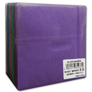 MAG-LABO不織布100P (200枚収納可) 100枚入り CD、DVDケース 両面不織布(カラーMIX)ML-DVD-AB100PM flashstore