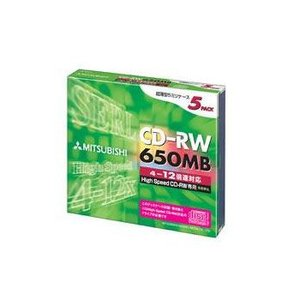 三菱 繰り返し記録用 CD-RW 650MB 5枚 12倍速対応 シルバー SW74EU5|flashstore