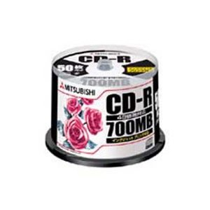 【お取り寄せ】三菱化学メディア CD-R 700MB ホワイトプリンタブル 50枚スピンドル SR80PP50