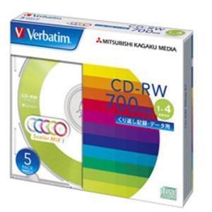 【お取り寄せ】Verbatim データ用CD-RW 700MB 4倍速 5枚 カラーミックス SW80QM5V1|flashstore