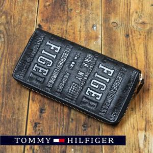 トミーヒルフィガー ラウンドファスナー 長財布 メンズ 財布 牛革 ブランド財布 人気 flavor