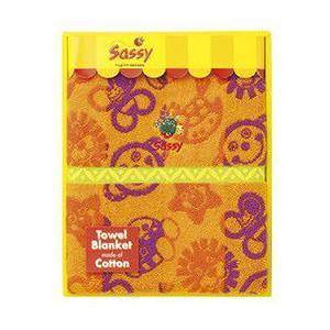正規品 Sassy(サッシー) コットンブランケット・オレンジ×パープル flclover