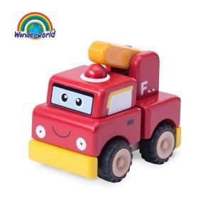 正規品 木のおもちゃ wonderworld(ワンダーワールド) ミニ・ビルド・ファイアーエンジン|flclover