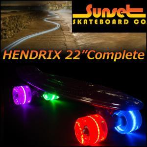 SUNSET  SKATEBOARD(サンセット スケートボード) ミニクルーザー スケボーコンプリート 22inch/HENDRIX 正規品 光るウイール|fleaboardshop01