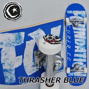 スケートボード コンプリート  FOUNDATION ファンデーション  THRASHER BLUE 8.0インチ  スラッシャー  スケボー 完成品 純正品  ship1|fleaboardshop