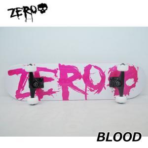 スケートボード コンプリート ゼロ  ZERO BLOOD WHITE/LIGHT RED  (7.75x31.125) 純正品 完成品  ship1|fleaboardshop