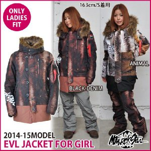 Mtn. Rock Star マウンテン ロック スター 14-15 モデル EVL JACKET FOR GIRL BLACK-DENIM/ANIMAL 【返品種別SALE】|fleaboardshop