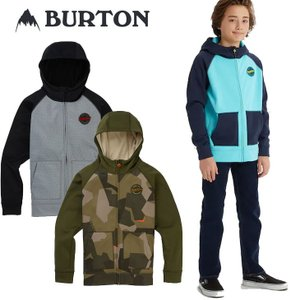 19-20 BURTON バートン キッズ 撥水 パーカー  Boys 【Burton Crown Bonded Full-Zip Hoodie 】(110/126/140/150/164) 日本正規品|fleaboardshop