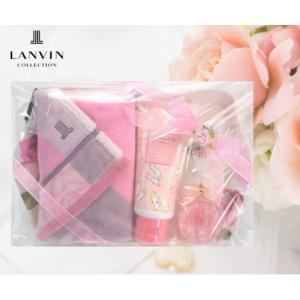 LANVIN ランバン オリジナルギフトセット ハンドタオル ハンドクリーム キャンドル ローズ&ロゴ 箱入り 女性 誕生日プレゼント お礼 お返し お祝い メール便可|fleur-de-camelia2