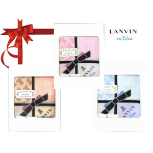 LANVIN ランバン 大人のガーゼ ハンカチ リボン柄 ギフト 女性 母の日 誕生日 プレゼント ...