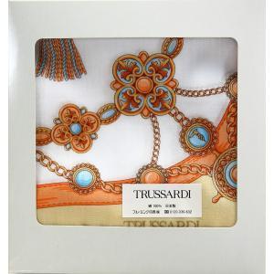 トラサルディ TRUSSARDI レディース ハンカチ ギフト チェーン柄 イギリス ブランド 女性 誕生日プレゼント お礼 お返し お祝い メール便可|fleur-de-camelia2