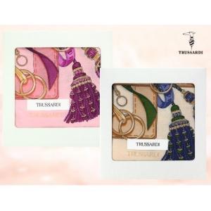 トラサルディ TRUSSARDI シルク混 レディース ハンカチ ギフト リボンタッセル柄 イタリア ブランド 女性 誕生日プレゼント お礼 お返し お祝い|fleur-de-camelia2