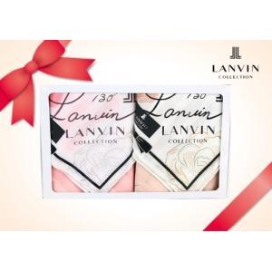 LANVIN ランバン ハンカチ ギフトセット 2枚組 レディース ブランド ストライプ ローズ 綿 大判 箱入 女性 誕生日プレゼント お礼 お返し お祝い fleur-de-camelia2