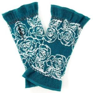 フランス製 ハンドウォーマー 手袋 ラインローズ柄 冬 ファッション小物|fleur-de-camelia2