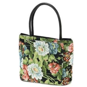 ゴブラン ミニ トートバッグ 花柄 レディース サブバッグ サイドバッグ ハンドバッグ メール便可|fleur-de-camelia2