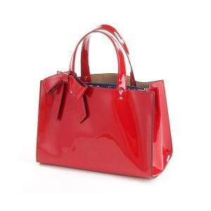 エナメル トートバッグ リボン付 横長 スクエア バッグ レディースハンドバック|fleur-de-camelia2